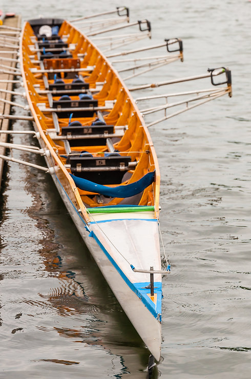 Close-up of an eight that is a rowing bo