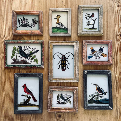 Birds & Bees Glass Paintings