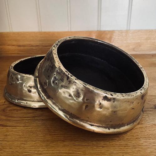 Pair Brass Dog Bowls