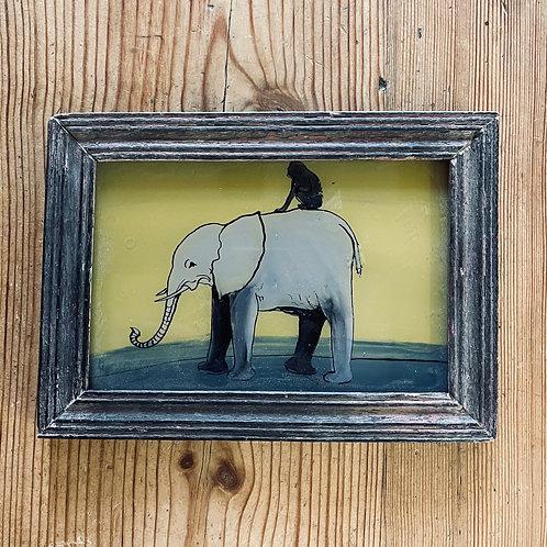 Elephant & Monkey Glass Painting