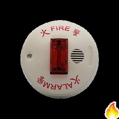 Gentex / Select. Horn/Strobe, 24Vdc,Ceiling,RedLens,White / GCCR-24CW