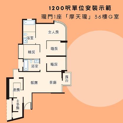 瓏門1座「摩天瓏」36樓G室 (1200呎)