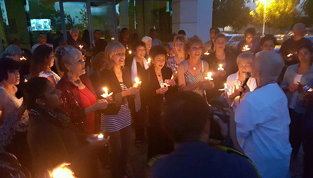 Candlelight vigil outside Christ Our Redeemer AME Church in Irvine following Charlestone SC Massacre