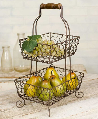 Rustic Wire Double Basket