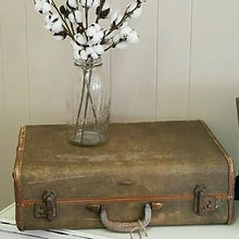 Vintage Suitca, mason jar, cotton