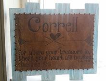 Burned Cowhide on wood frame