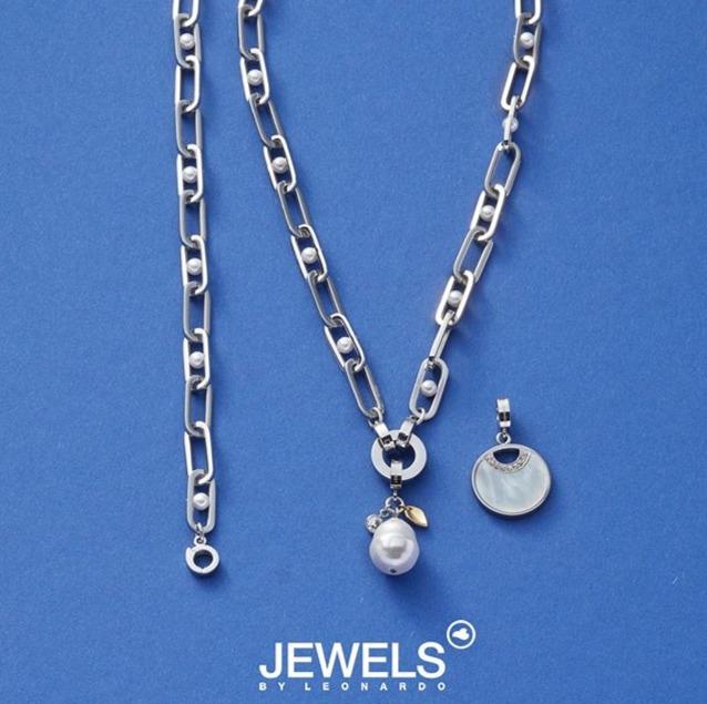 Edelstahl Halskette mit Perlen by Steinheimisch
