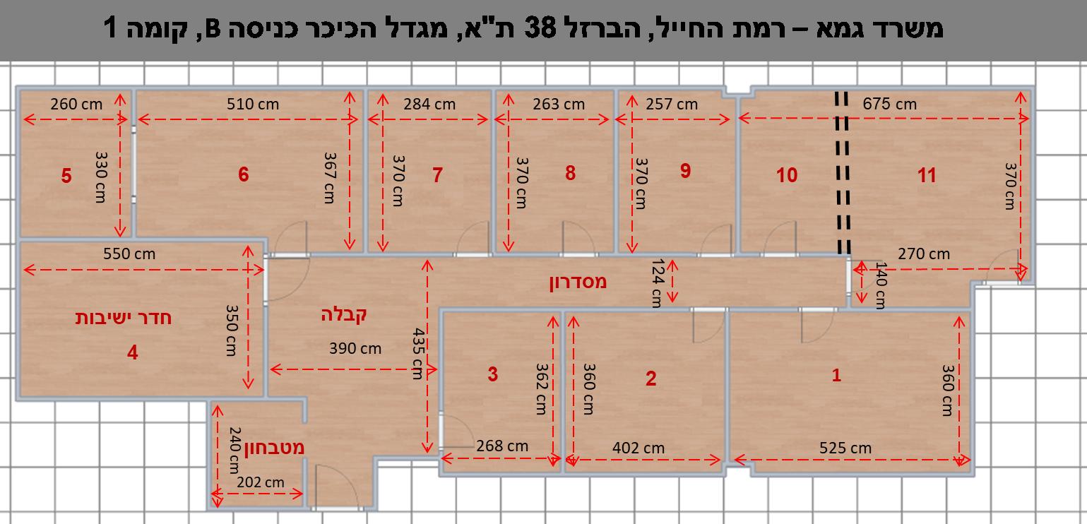 שרטוט משרד גמא הברזל 38 תל אביב