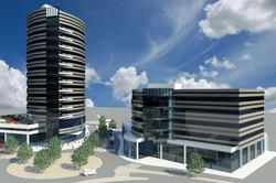 הדמיה של המרכז המסחרי לצד המגדל