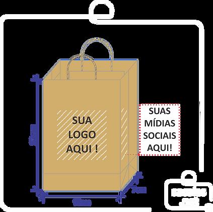 Sacola Kraft 23x16x7cm (AxLxP) Personalizada Com Sua Logo - 200 unidades