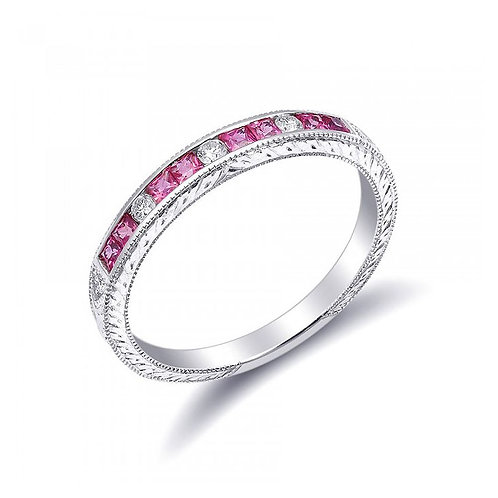 18k White Gold 0.48ct TGW Pink Sapphires and Diamond Wedding Band