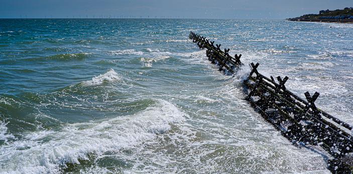 Waves on the breakwater