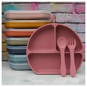 Silicone Divided Plate and Cutlery Set with Suction Base and Lid