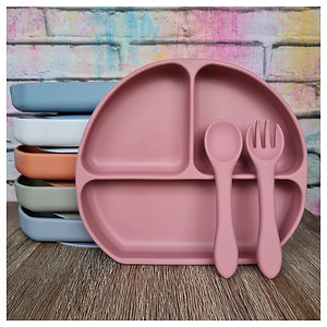 Silicone Divided Plate and Cutlery Set with Suction Base