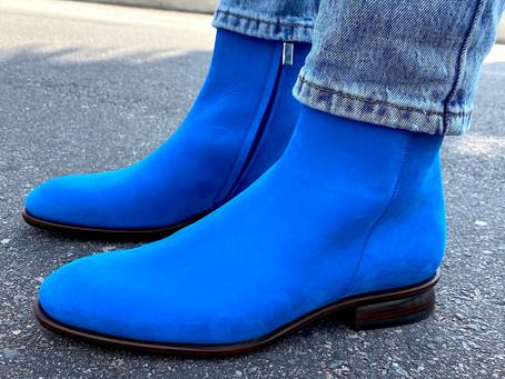 MY BLUE SUEDE BOOTS . Mark Schwartz mens shoes.