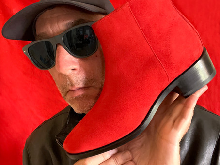 THE CARNABY BOOT IN RED SUEDE . MARQUIS COLLECTION. MARK SCHWARTZ / MICHAEL DES BARRES.