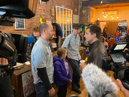 Mayor Pete Swings by Outdoor New England