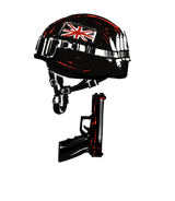 Illustrated icon representing Simon Ellice's army discharge letter. A British army helmet and handgun.