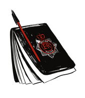 Illustrated icon. A police notebook and pen. Click to go to Interview Statements.