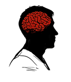 Illustrated icon representing Simon Ellice's psychological evaluation. A man's head in profile with a red brain inside.