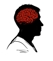 Illustrated icon. A man's head in profile with a red brain inside. Click to go to Psychological Evaluation.