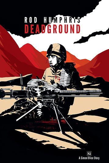 The cover of Dead Ground by Rod Humphris, the prequel novella to the Simon Ellice Series of literary adventure thrillers.