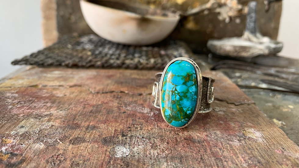 Custom Sterling Silver Tufa Cast Ring with TOP SHELF   Kingman Turquoise size 13