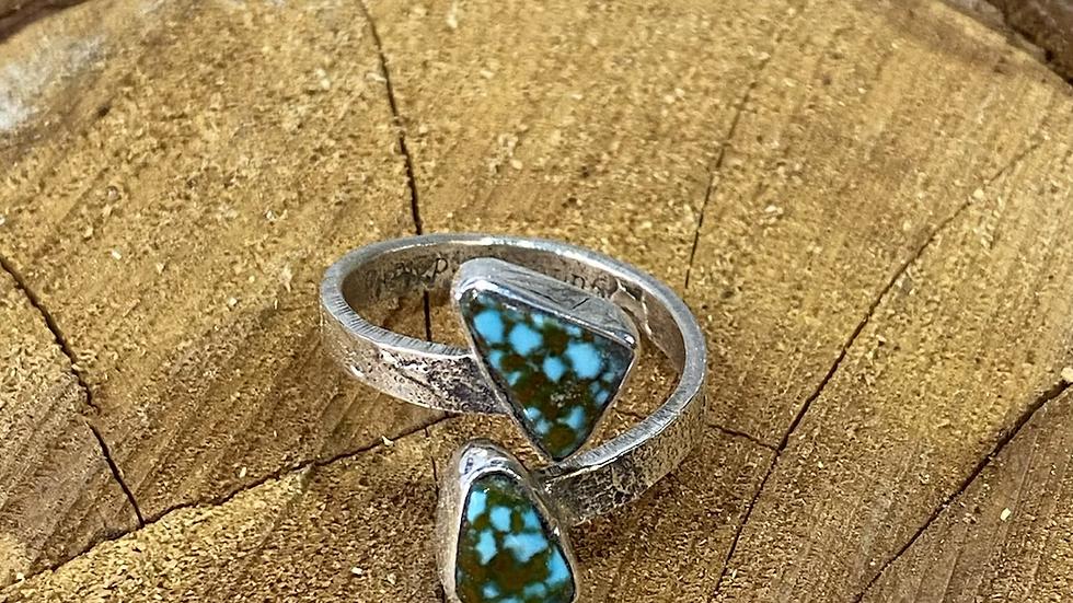 Jude Candelaria Sterling silver Tufa Cast adjustable ring with kingman web Turqu