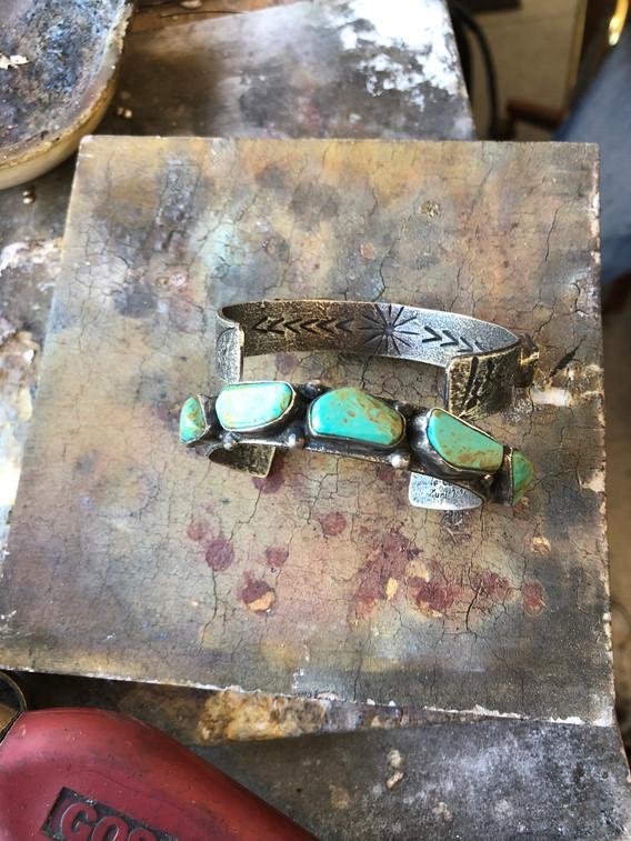 Jude Candelaria 1/2in Cuff w/ kingman turquoise
