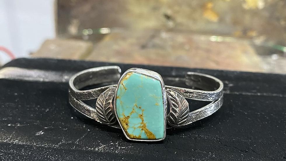 Jude Candelaria sterling silver tufa cast leaf Bracelet