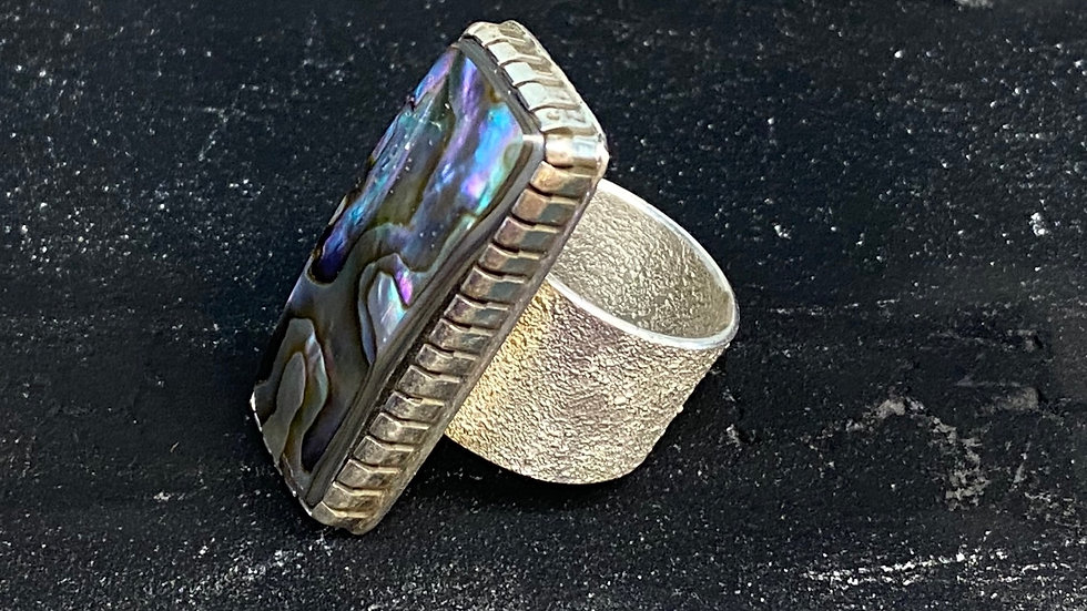Artist Aaron John Adjustable Abalone ring