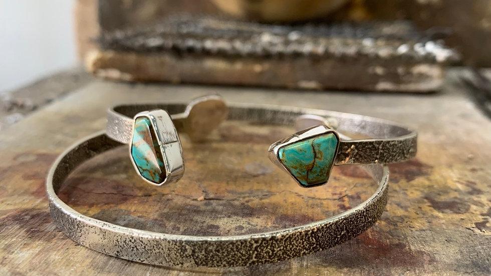 "1/4"" tufa cast cuff bracelet w/ 2 Kingman Turquoise"