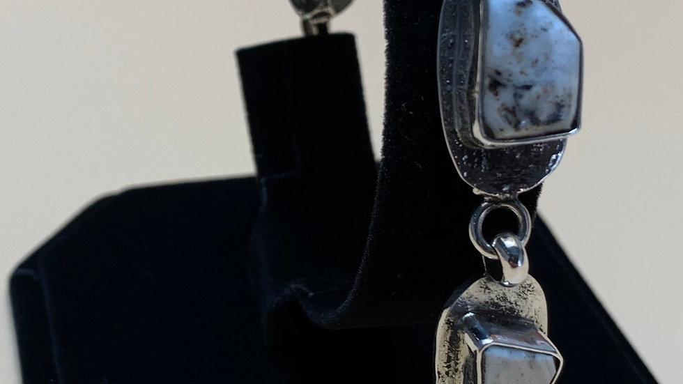 Stirling Silver Tufa Cast White Buffalo 5 stone link bracele