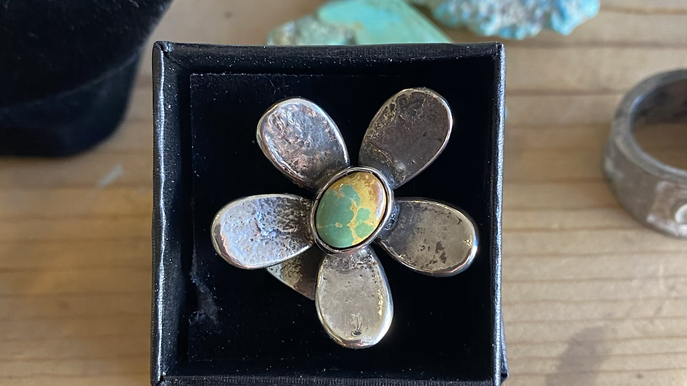 Jude Candelaria sterling silver adjustable flower ring with royston turquoise