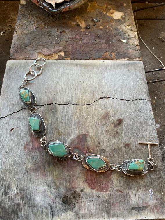Jude Candelaria Tufa Cast link Bracelet w/ Kingman Turquoise