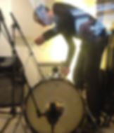 Mitch Oldham recording with Little Sparrow, Katie Ware, percussionist, London 14/12/11