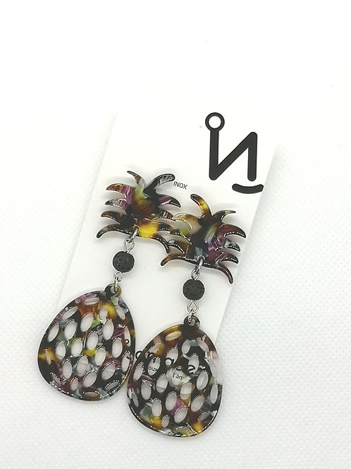 Boucles d'oreilles diffuseurs d'huile essentielle ananas