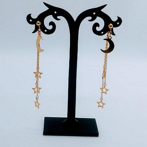 Boucles d'oreilles Ma-J Bijoux avec étoiles et lunes