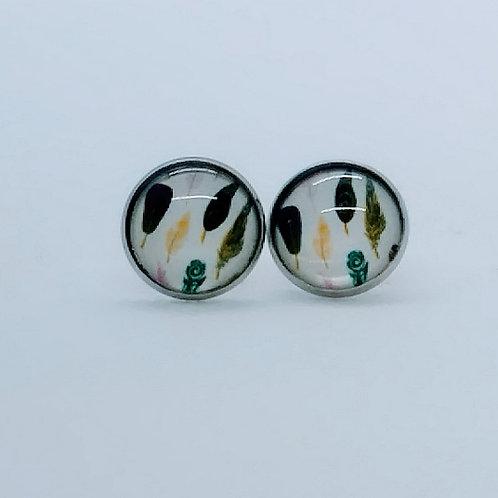 Boucles d'oreilles cabochon 14mm -Plumette