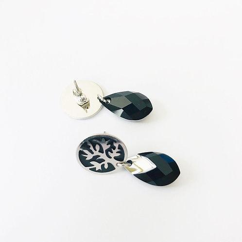 boucles d'oreilles de couleur argent et noir avec pierre de swarovski
