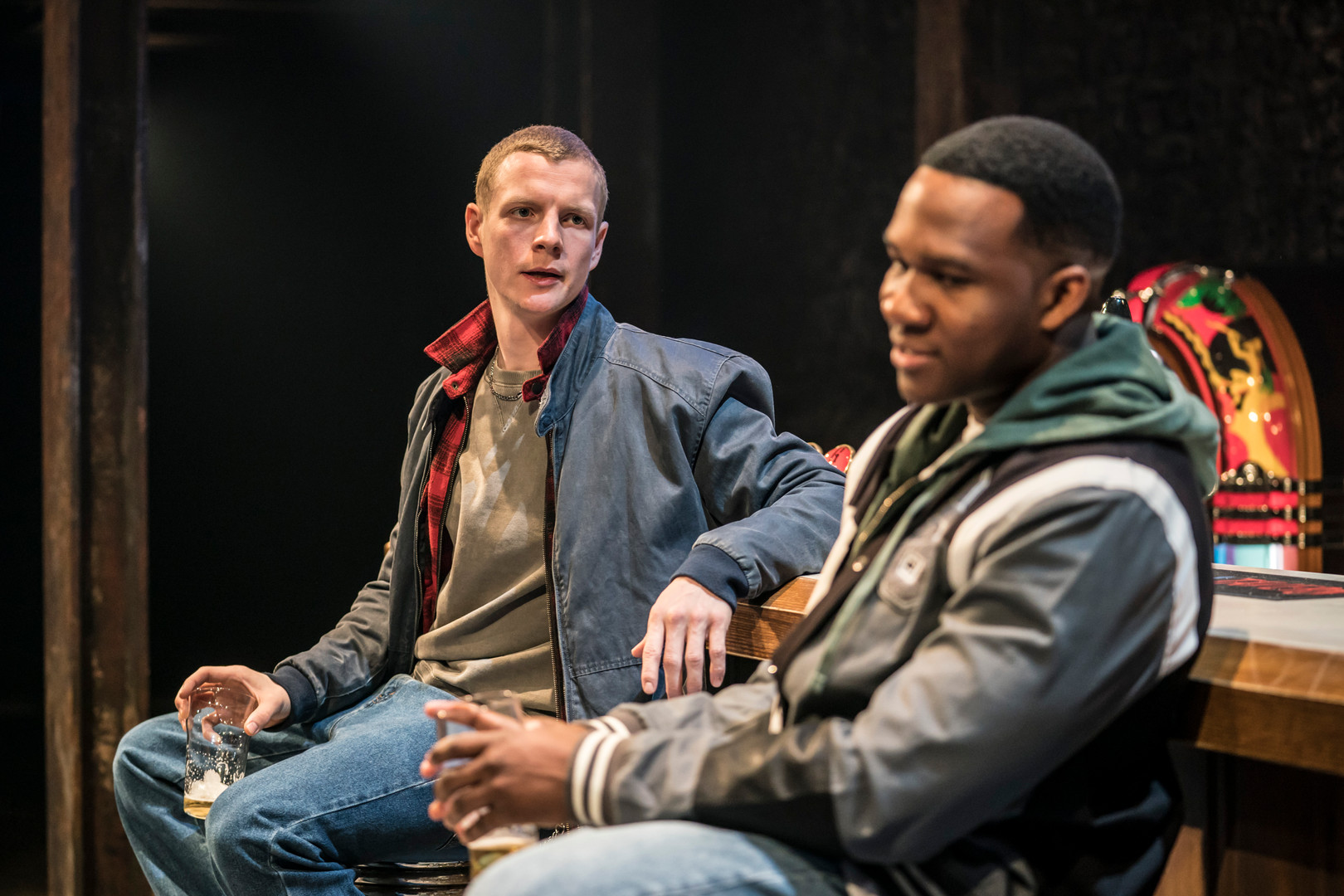 Patrick Gibson and Osy Ikhile in Sweat a