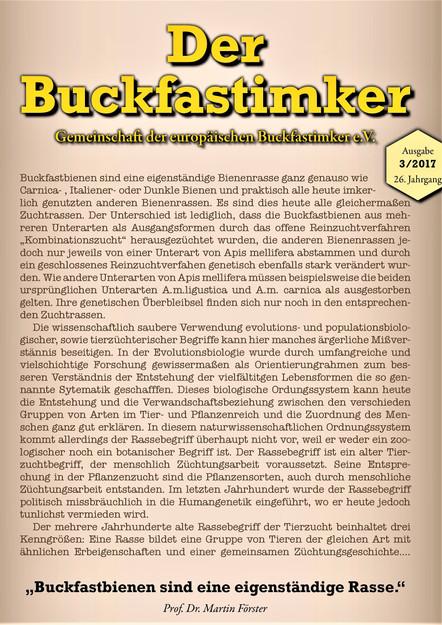 Der Buckfast Imker - Stellungnahme von Hr. Förster