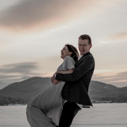 Adirondack wedding photography in Schroon Lake, Sunset on Schroon Lake