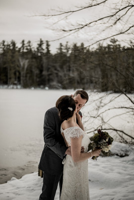Bride and groom kissing in Chestertown, NY