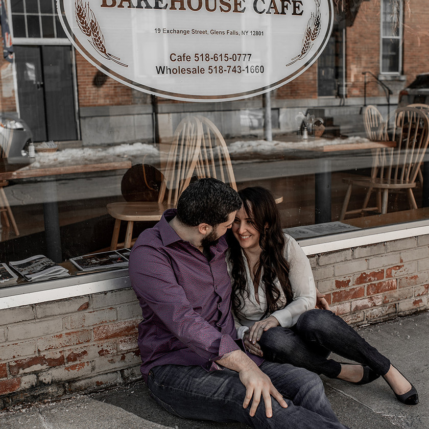 Intimate engagement photos in downtown Glens Falls NY