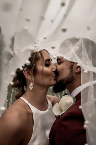 Wedding photo under veil