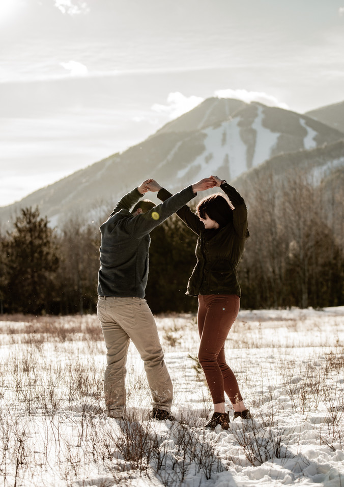 Dancing engagement photos in the Lake Placid area