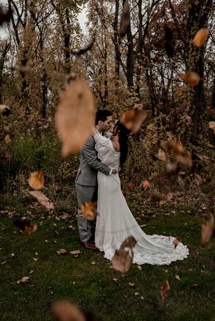 Kristin and Ryan's wedding photo in the Adirondack fall foliage