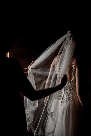 Photo of wedding veil and Hailey and Andrew's Adirondack wedding