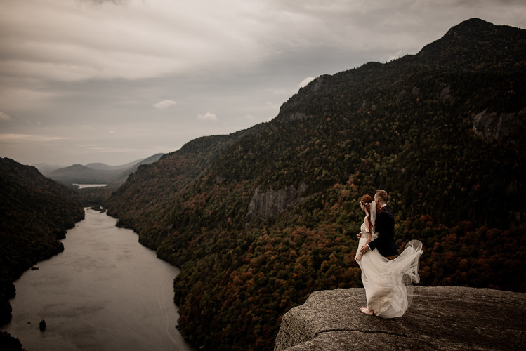 Wedding photos on top of a mountain